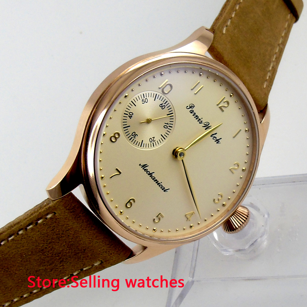 цена 44mm parnis Rose Gold case light yellow dial big 6497 movement hand winding mens watch онлайн в 2017 году