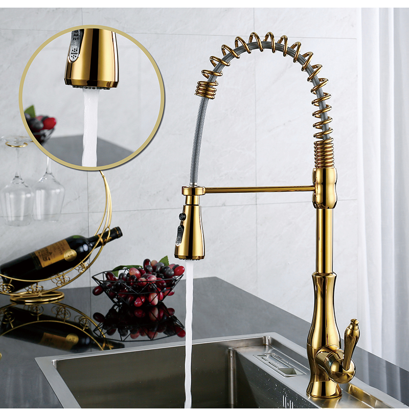 LOY Brass Polished Gold Kitchen Faucet Swivel Pull Out Spout Kitchen Sink Tap Mixer