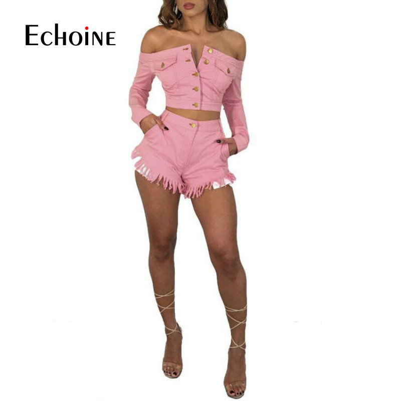 Summer Sexy Party 2 Piece Sets Women Outfits Long Sleeve Single Breasted Jeans Jacket Coat Tassel Two Piece Pink Shorts Suits-in Women's Sets from Women's Clothing