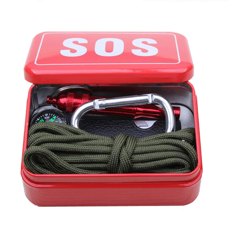 Outdoor equipment with paracord emergency survival box SOS Camping Hiking tools, equipment for Camping Hiking saw/fire(China)