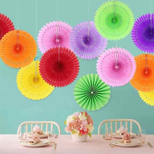 1pcs 25cm Mix Paper Wheel Fan Flower Pinewheel Handcraft Rosettes Folding Home