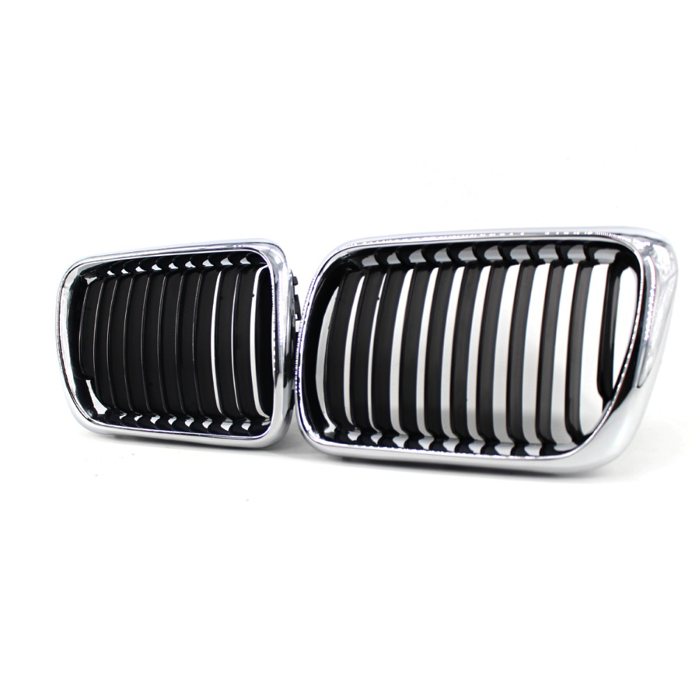 2Pc Semi-plating Front Kidney Grille Grill For BMW E36 M3 3 Series 1997-1999