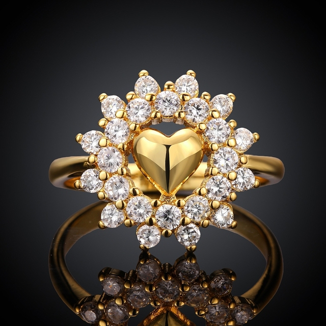 Big Flower Style Yellow Gold Plated Engagement Ring For Womens