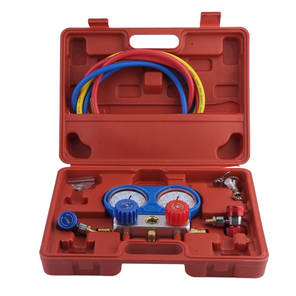 1 Sets R-134A A/C Manifold Gauge Air Conditioning A/C Diagnostic Tool With Colored Hose Refrigeration Kit Car Diagnostic Tool testo 550 1 refrigeration manifold kit 0563 5505 with 1 clamp probe surface temperature measurement