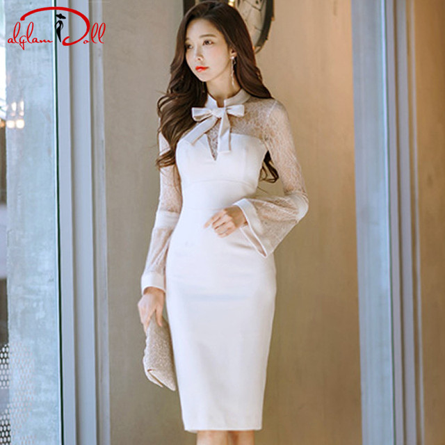 2018 Autumn Flare Sleeve Bowknot Women Sexy Cloth Knee-Length Pencil White  Vestidos Bodycon Sexy Party Dress 627d8ad274e9