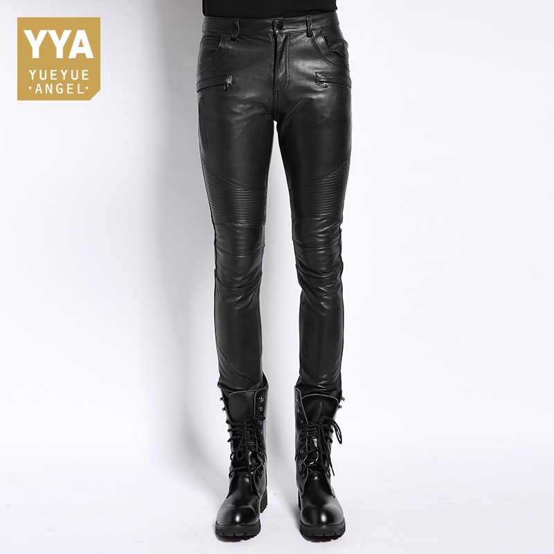 Genuine Leather Male Pants 2020 Autumn Korean Fashion Biker Casual Soft Slim Full Length Pant Straight High Street Trouser Man