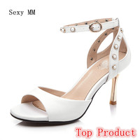 Genuine Leather Women Sandals High Heels Peep Toe Pumps Summer Shoes Woman High Heel Sandals Plus