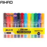 AIHAO 12 Colors Set Markers Twin Highlighter Cute Kawaii Marker Pen For Painting Drawing Graffiti Kids