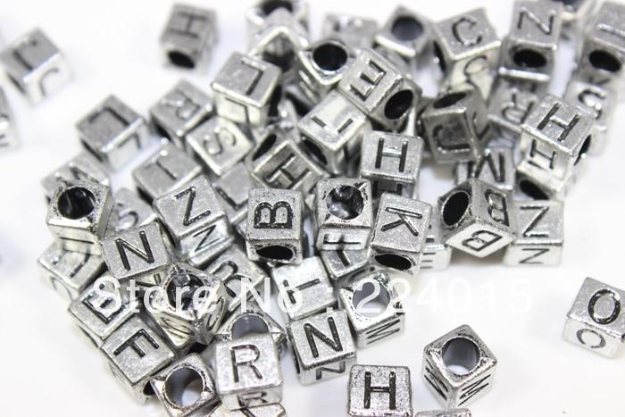 freeshipping200pcs67mm silver gray plastic square shape big hole letter