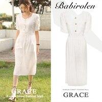 2019 summer vintage slim high waist cotton and linen dress women v neck short sleeve dress a line