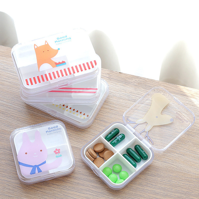 Creative cartoon transparent plastic pill box travel portable small medicine box sealed mini multi-lattice storage box
