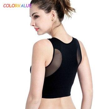 Colorvalue 6 Kleuren Patchwork Mesh Sport Bh Top Vrouwen Comfortabele Draadloze Running Fitness Bras Vest Type Solid Padded Yoga Bras