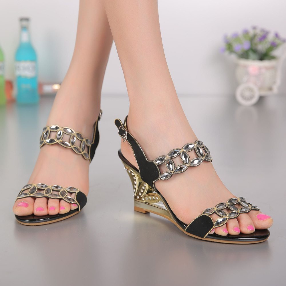 Ladies High Quality Summer Shoes Cut Out Wedge Heels Women Sandal 8cm Shoes Ladies Open Toe Rhinestone Strappy Heels rhinestone sandals summer shoes women pumps transparent womens shoes heels strappy heels ladies shoes