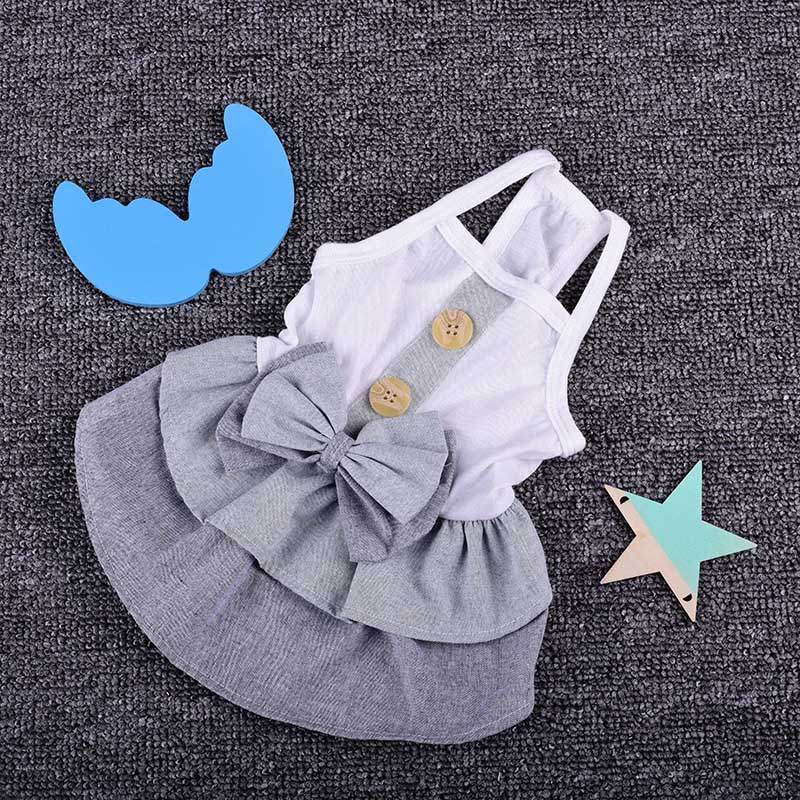 Dresses For Small & Medium Dog Spring Summer British Style Clothes Summer Pet Strapless Clothing
