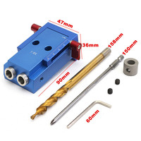 Mini Kreg Style Pocket Slant Hole Jig System Kit With Step Drill Bit Woodwork Tool Set