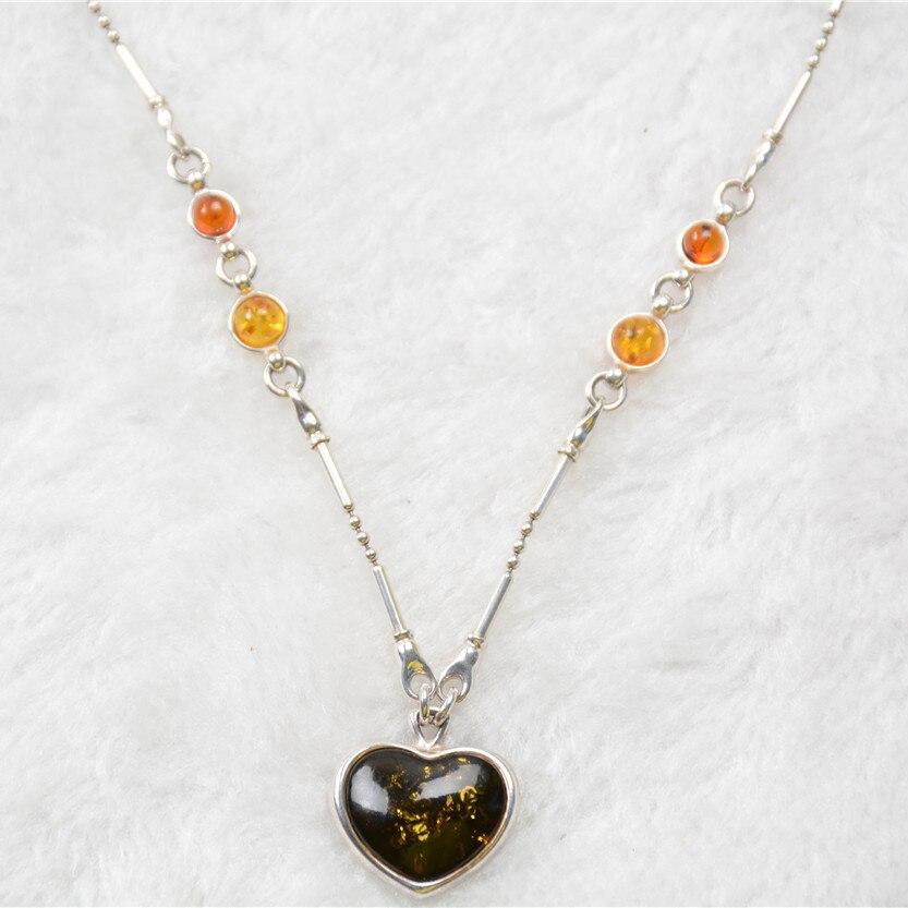 Moda Vintage Retro Real 925 joyería de plata de ley en forma de corazón colgante suéter Collar para mujer