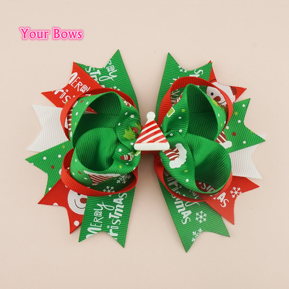 Your Bows 1PCS 5Inches Christmas Hair Bows With Hair Clips 100% Ribbon Bows Hairpin Children Headwear Kids Hair Accessories