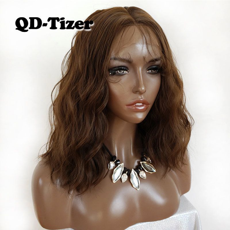 QD Tizer Short Wavy Hair Wigs Synthetic Lace Front Wigs BOB Dark Brown Color Synthetic Lace
