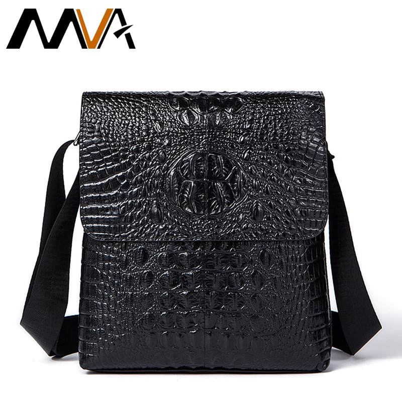 MVA Alligator Pattern Men Messenger Bag Male Men Bags Business Genuine Cow Leather Black Shoulder Bag Small Crossbody Bags jason tutu genuine leather crossbody bags cow leather multi function shoulder bag brands men messenger bags small bag hn54
