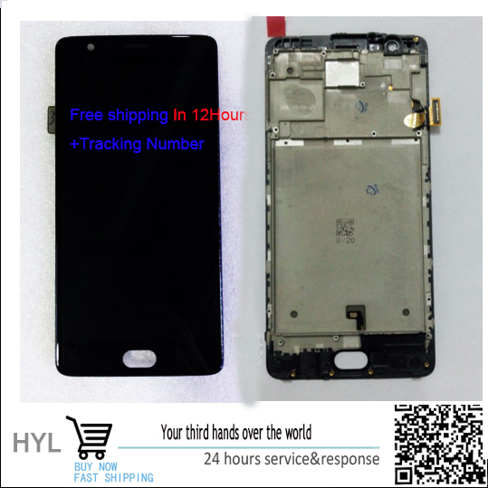 Original quality 100% NEW Touch screen digitizer+LCD display with frame For oneplus 3 1+3 A3000 A3003 fast shipping