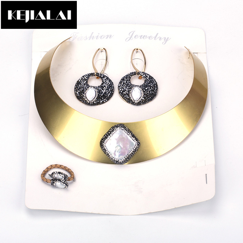 KEJIALAI Punk Style Jewelry Sets for Women Alloy Choker Necklace Paved with Rhinestone Pearl Round Earrings Leather Ring Gift a suit of chic fake pearl rhinestone oval necklace and earrings for women
