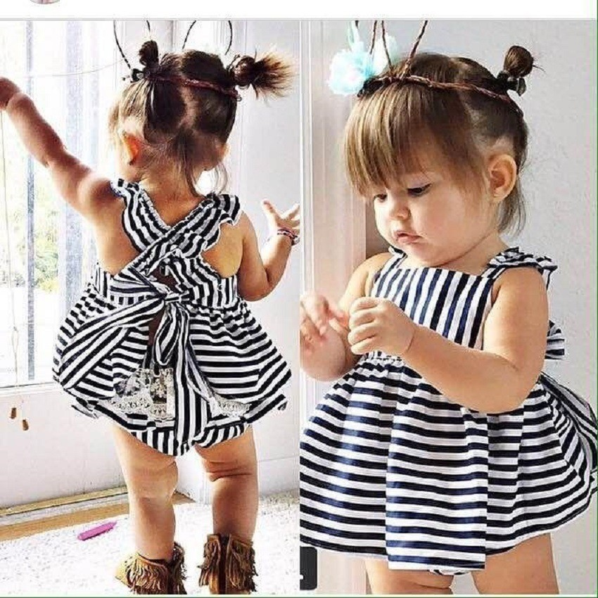2016 new arrive summer style baby girls clothing set Stripe dress + Briefs 2pcs cute vestido newborn clothes infant baby suit