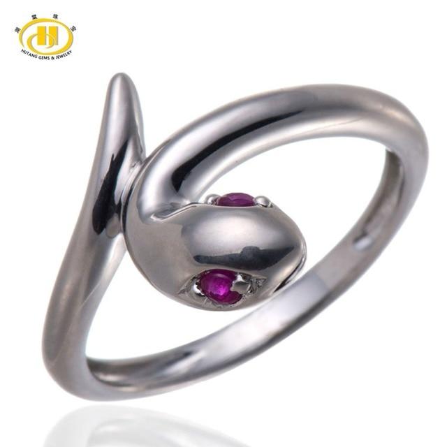 0e41d408d16 Hutang Sólido 925 Sterling Silver Vermelho do Rubi Gemstone Anel Cobra Moda  feminina Fine Jewelry HuTang