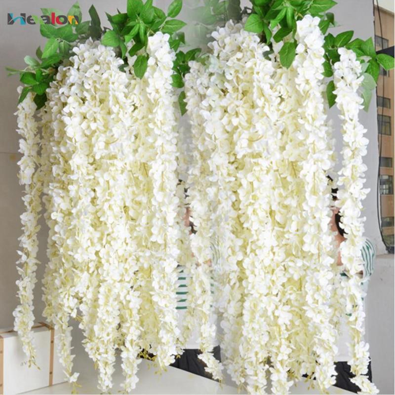 10 stücke Künstliche Rattan Streifen Glyzinien Künstliche Blume Reben Silk Blumen Für Home Party Kinder Zimmer Dekoration DIY Hochzeit Decor
