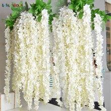 10pcs Artificial Rattan Strip Wisteria Artificial Flower Vine Silk Flowers For Home Party Kids Room Decoration DIY Wedding Decor
