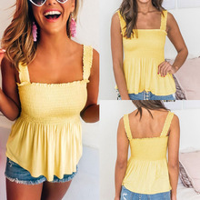 2019 Hot Selling Sexy Yellow Halter Ruffled Backless Women Tops Summer TShirt Off  Shoulder for Shirt