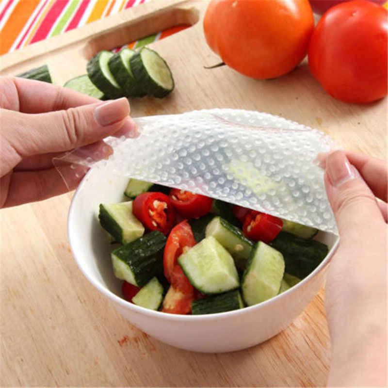 3 Ukuran Dapat Digunakan Kembali Silikon Wrap Segel Makanan Segar Menjaga Bungkus Tutup Penutup Vakum Makanan Bungkus Alat Dapur