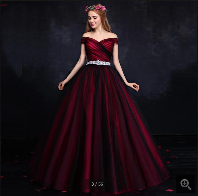 2016 latest style fashion red black tulle v neck prom dresses off ...