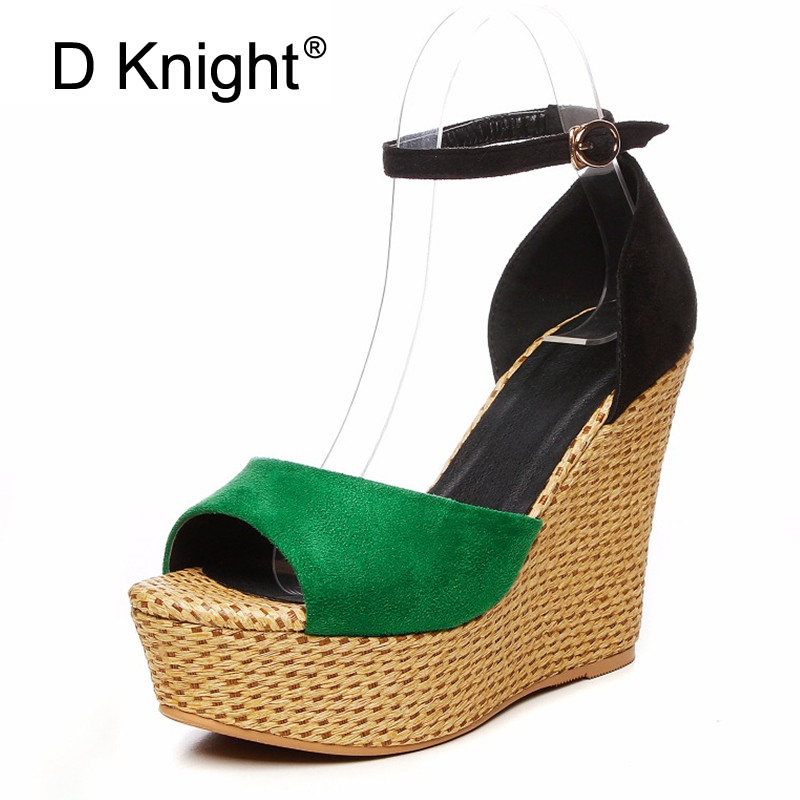 Fashion Women High Heels Summer Sandals New Arrival Open Toe Straw Wedges Platform Buckle Strap Casual Shoes Woman Green Black retro embroidery women wedges sandals summer style platform shoes woman casual thick high heels creepers slippers plus size 9
