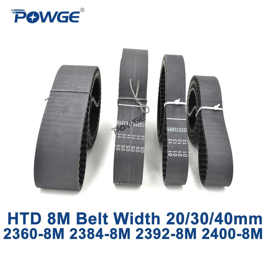 POWGE HTD 8M synchronous Timing belt C=2360/2384/2392/2400 width 20/30/40mm Teeth 295 298 299 300 HTD8M 2360-8M 2392-8M 2400-8M