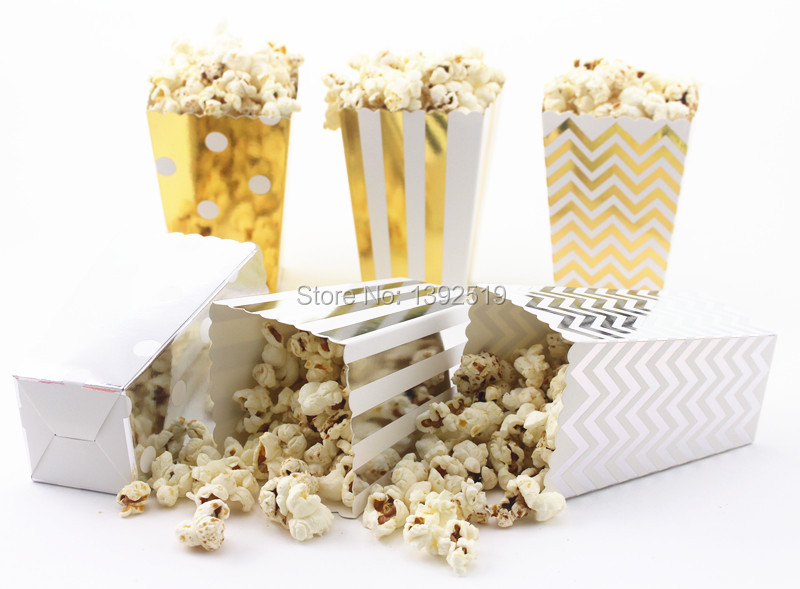 Free Ship 120pcs Glitter Gold/Silver Paper Popcorn Box for Retro Party/Hollywood/Movie Foil Gold/Silver Theatre Food Loot Bags