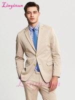 Linyixun Khaki Suits for Weddings Groom Tuxedos Cheap Notched Lapel 2018 Vintage Wedding Prom Men Suit ( jacket+Pants)