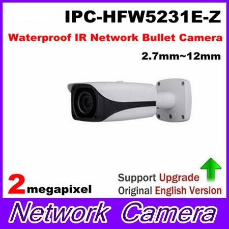 Free Shipping Security IP Camera 2MP Full HD WDR Waterproof IR Network Bullet Camera with POE without Logo IPC-HFW5231E-Z