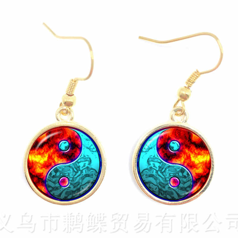 The Fire And Ice Yin Yang Glass Earrings Symbol Jewelry Pendant Natural Rustic Boho Style Symbolizing Harmony Bring Good Luck