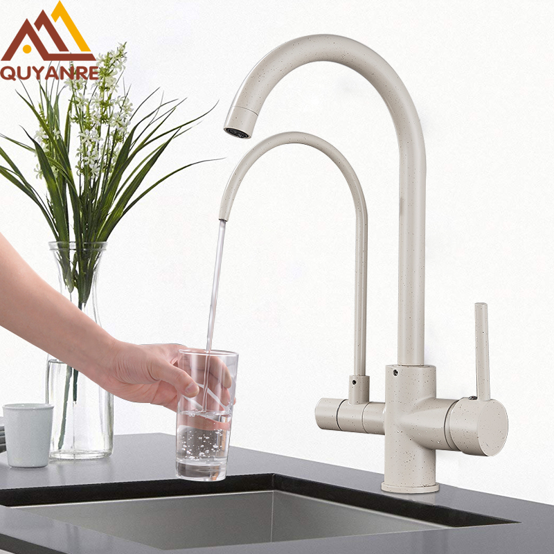 Beige Black Purifier Water Kitchen Faucet Filter Water Tap 360 Rotation Dual Handles Purification Filtered Kitchen