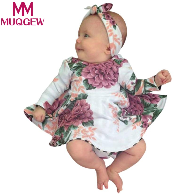MUQGEW 2PCs Toddler Kids Baby Girl Floral Print Dress+Headband Outfits Clothes Set roupa infantil menina roupa de bebe terno