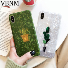 Green Plant Glitter Phone Case For iPhone 7 8 Plus Cactus Shell Cases For iPhone XR XS Max 7 6 6S Plus Soft TPU Silicone Cover цена и фото