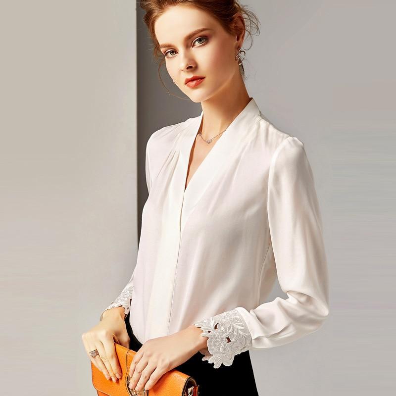 R10139 di Nuovo Modo 2019 Delle Signore Magliette e camicette Con Scollo A V a maniche lunghe Retro 100% di Seta Slaccia la Camicia Camicetta Abbigliamento Donna - 1
