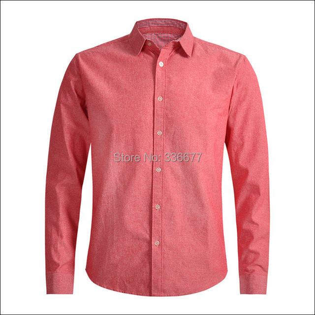 8d232a96224 Free Shipping Mens Long Sleeve 100% Cotton Red Denim Shirts Western Casual  Shirt QR-5004