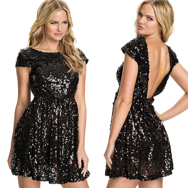 cb2e3d0ba9 2015 New Fashion Sequin Skater Dress Sexy Backless Empire A-line Pleated  Dresses Elegant Black Sequined Casual Short Dress A035