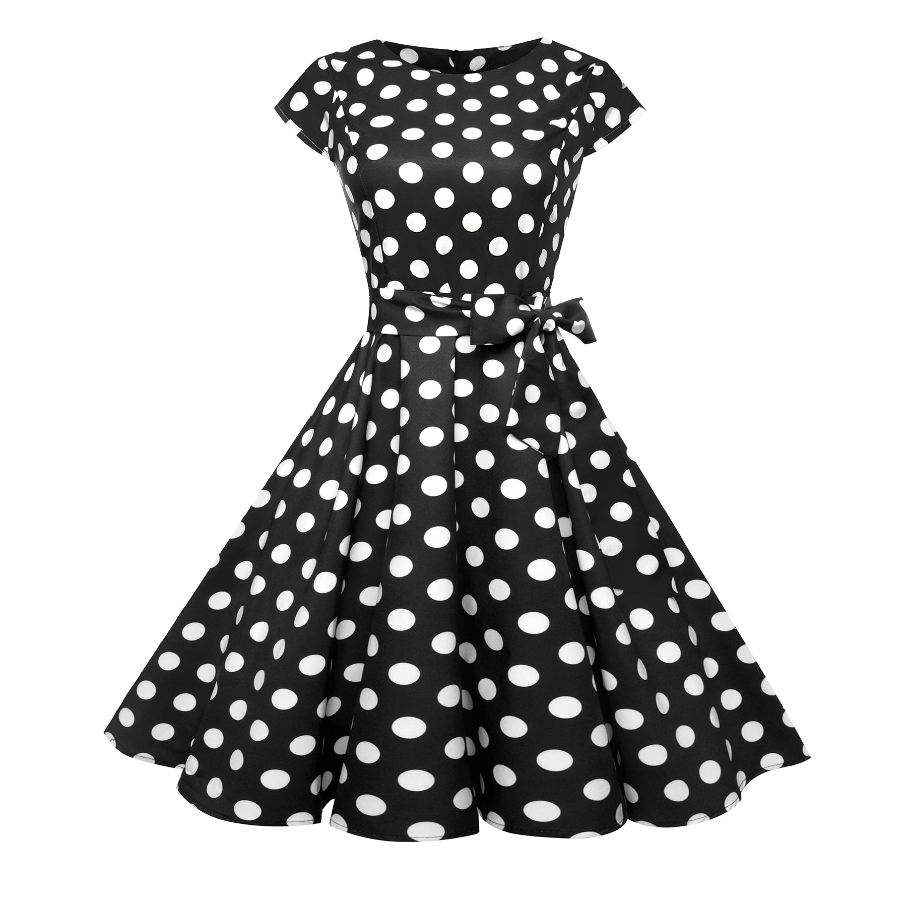 Short-sleeved polka dot dress O Neckts Cotton retro dresses Vintage Dress for party fatal
