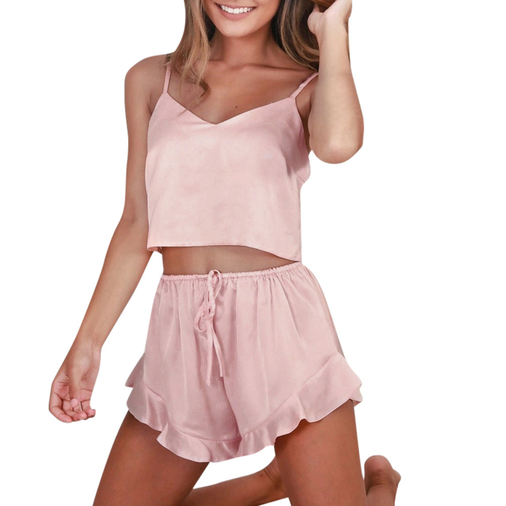 Women Sexy-Lingerie Sleepwear Satin Silk Babydoll Lace Nightwear Pajamas Set Satin Silk Sleepwear Pyjamas Women Pyjama Femme