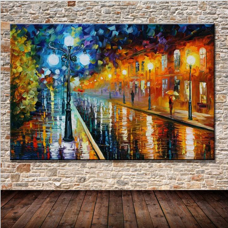modern wall art abstract street lights bench night scenery palette