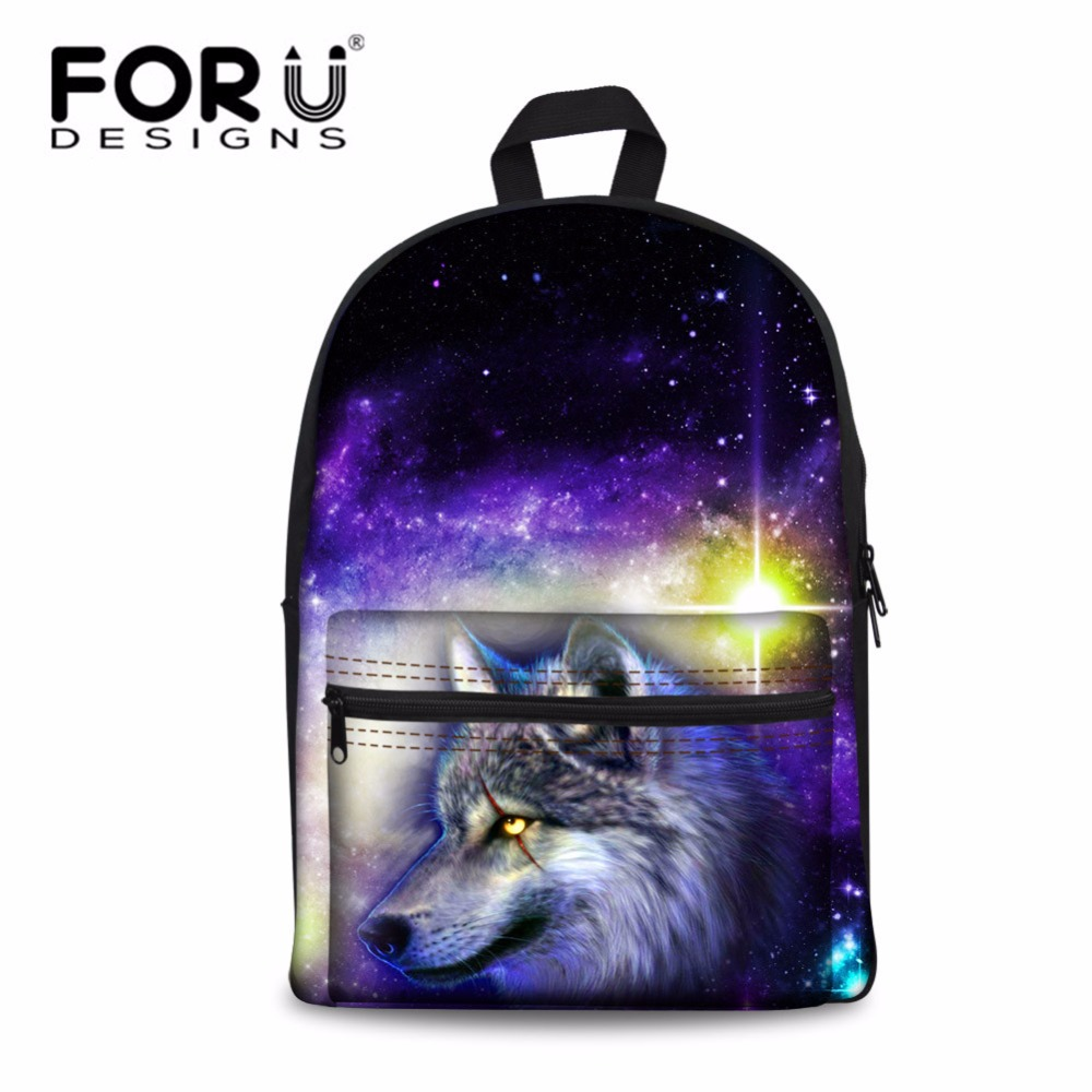 Forudesigns Backpck Men's 3d Galaxy Animal Wolf Printing Bagpack Teenagers Cool School Backpack For Kids Travel Fashion Mochila