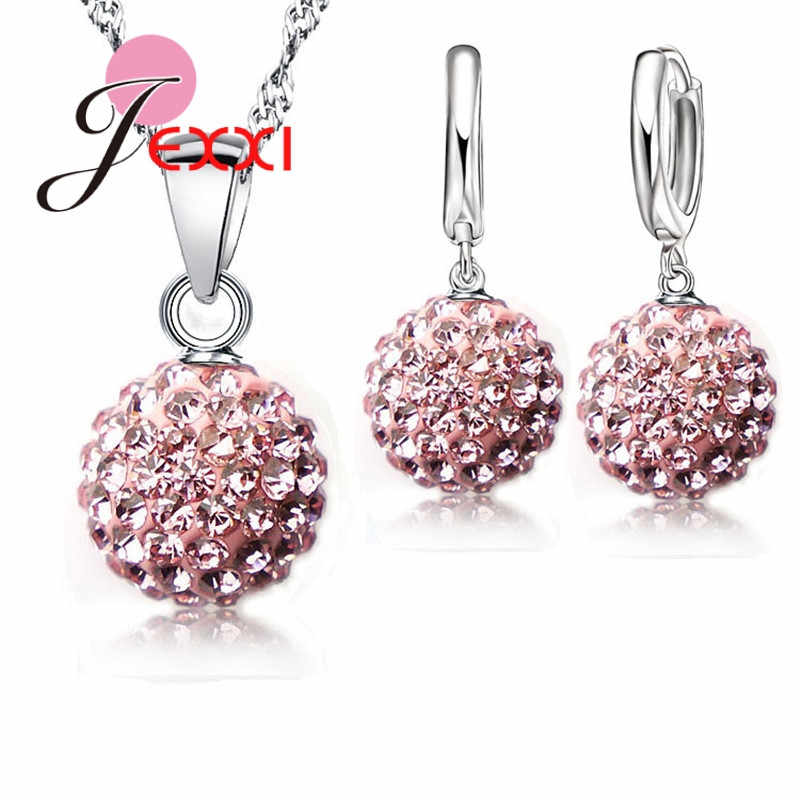 Best Hot New Jewelry Sets 925 Sterling Silver Austrian Crystal Pave Disco Ball Lever Back Earring Pendant Necklace Woman