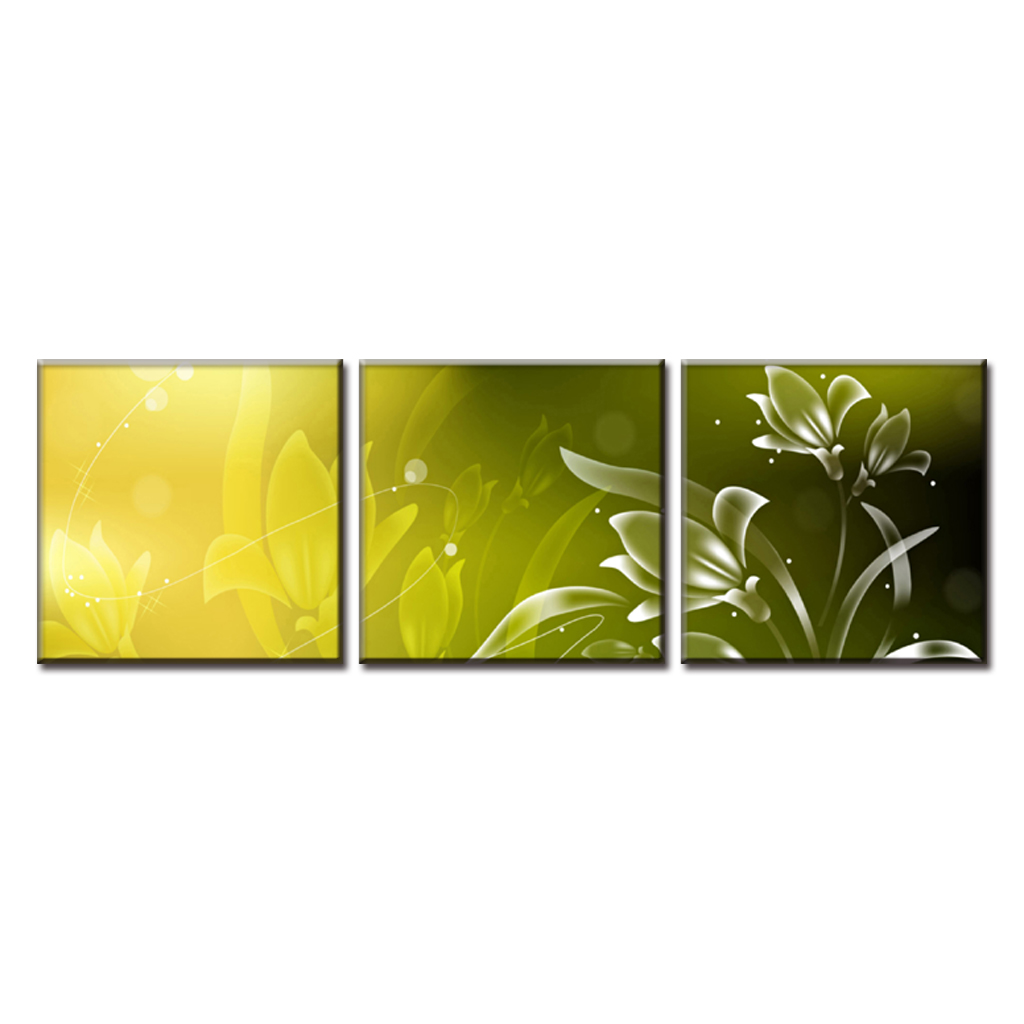 Discount Framed Painting 3 Pcs Modern Abstract Flower Painting ...